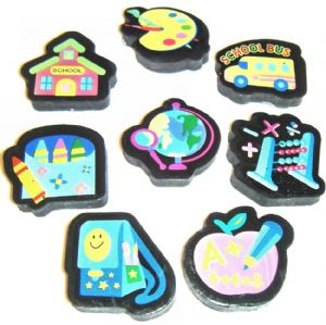 36 x School Classroom Themed Novelty Erasers Rubbers Wholesale Bulk Buy